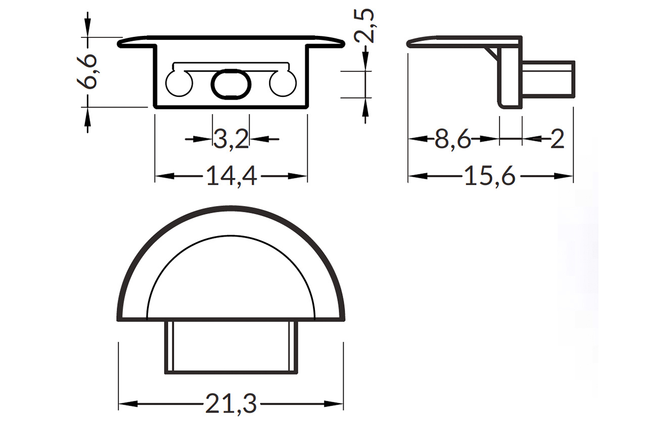 Eindkapjes voor LED profiel Lumo RS, Half rond, Set van twee