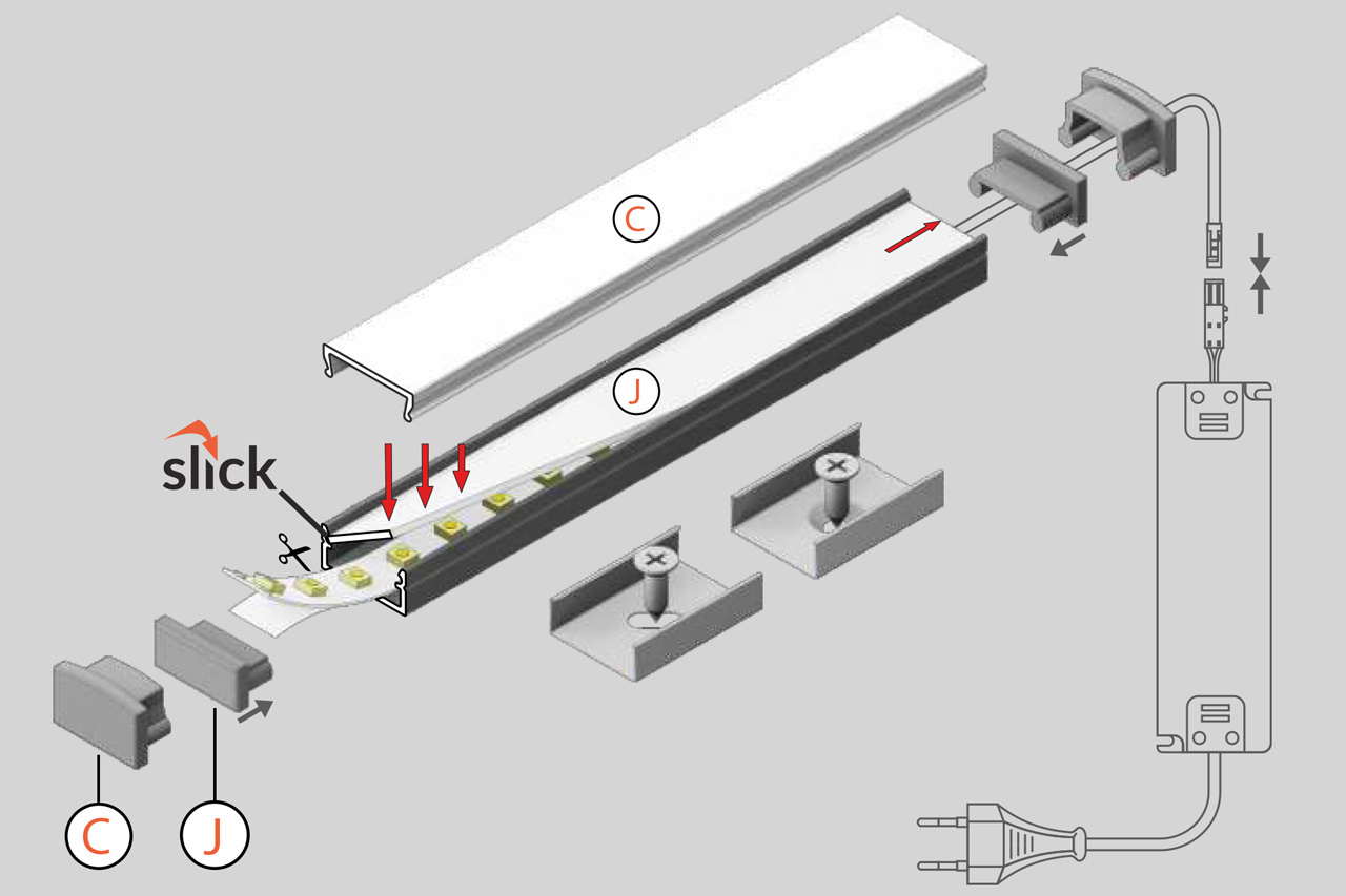 LUMO 12mm Led Profiel Opbouw 1m-2m