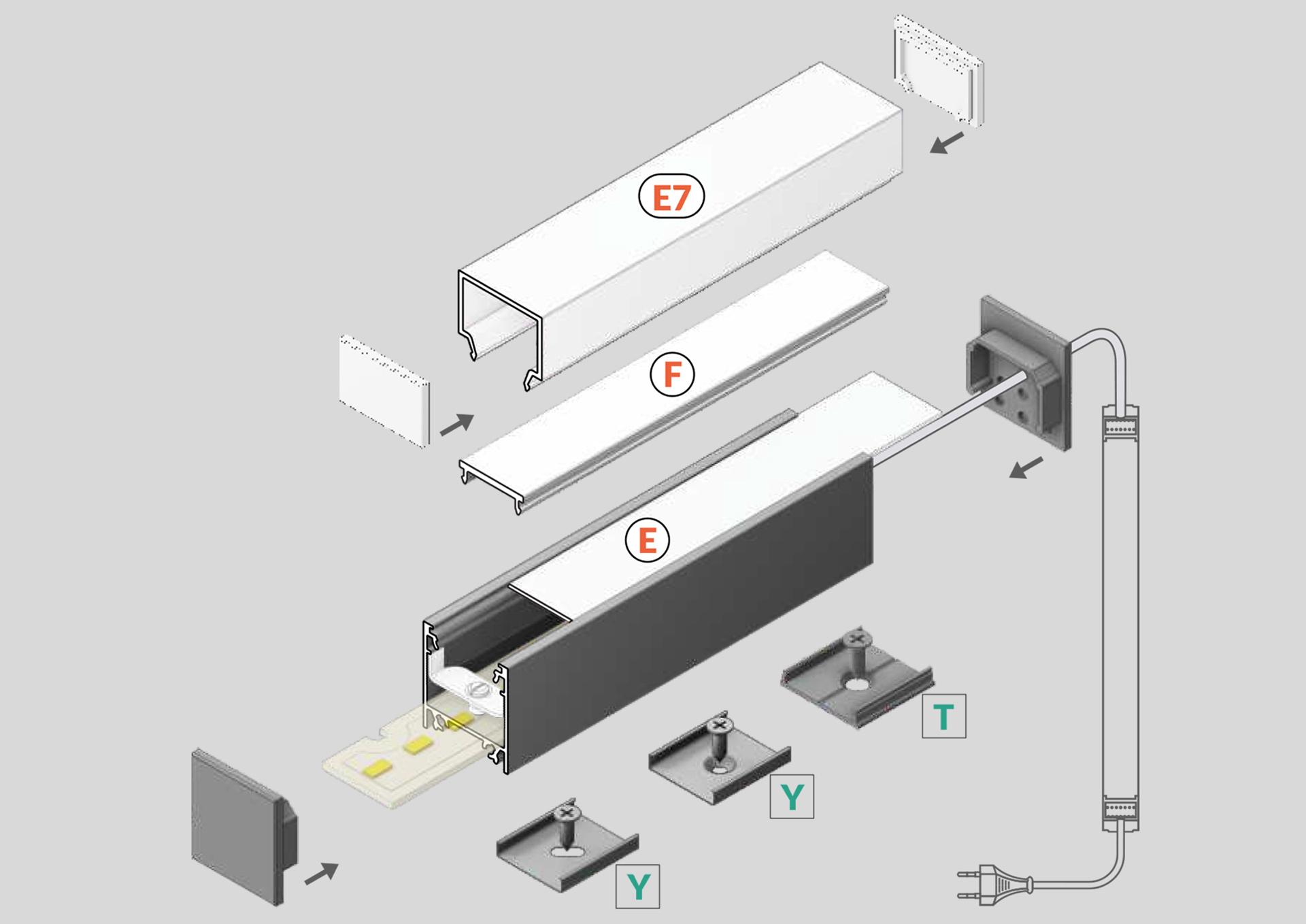 NOVA 20mm Opbouw Led Profiel 1m-2m