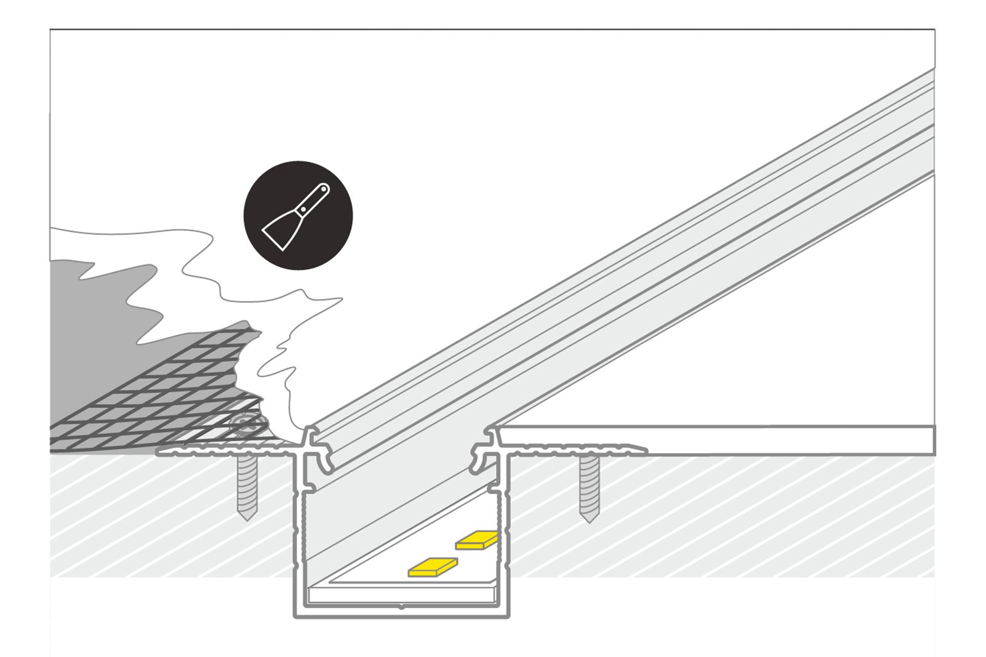 NOVA TS 20mm verzonken Led Profiel voor stuc en pleisterwerk