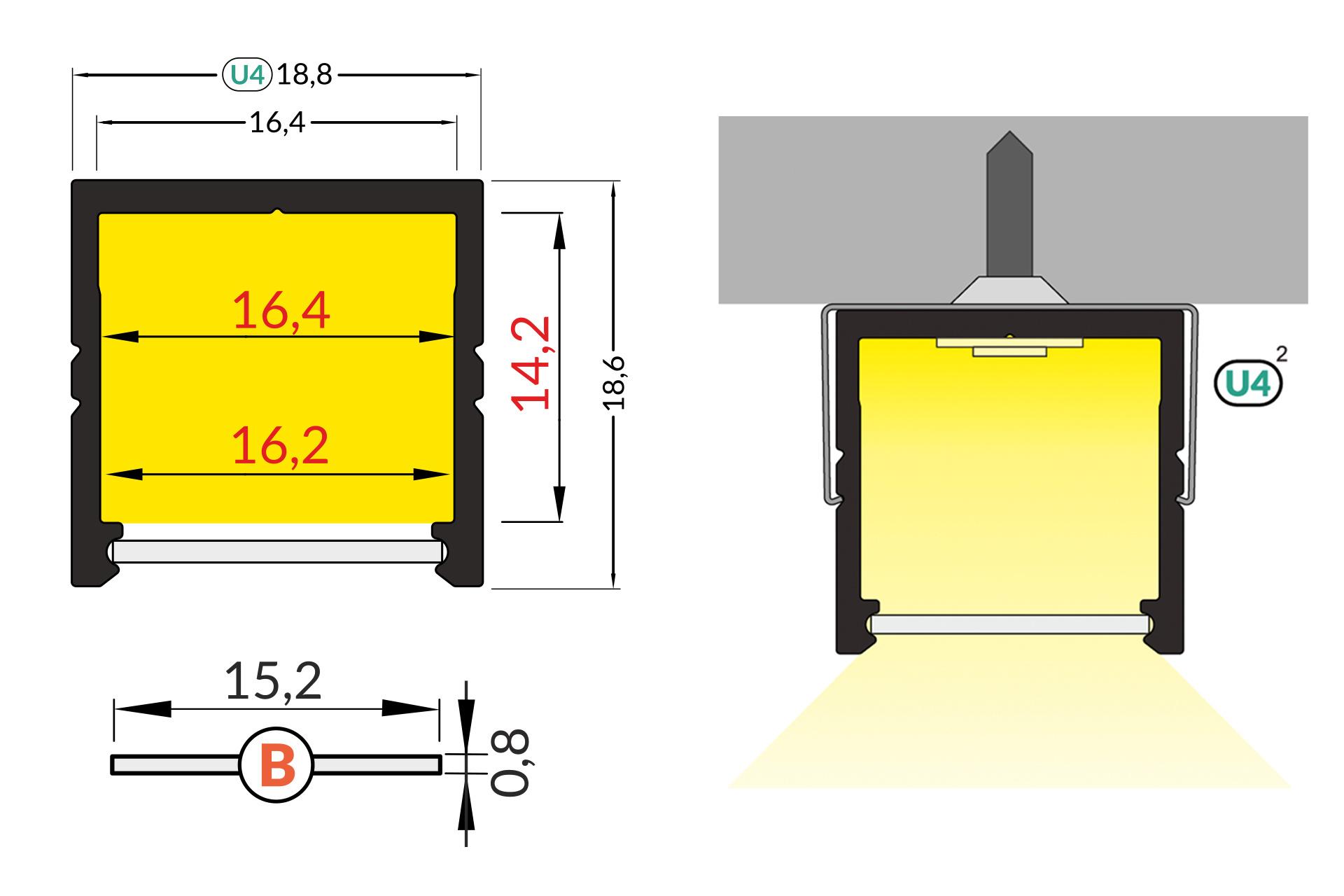 NOVA 16mm Led Profiel Opbouw 1m-2m