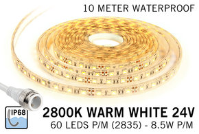 AppLamp Waterdichte Warm Witte LED strip (IP68) 60 Led's per meter 24Volt, 10  meter lengte