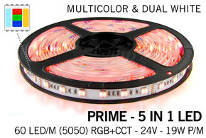 MiLight PRIME Ledstrip RGB Color+Dual White 60 of 96 LED/m, 5 in 1 , 24V, 2.5m tot 10m
