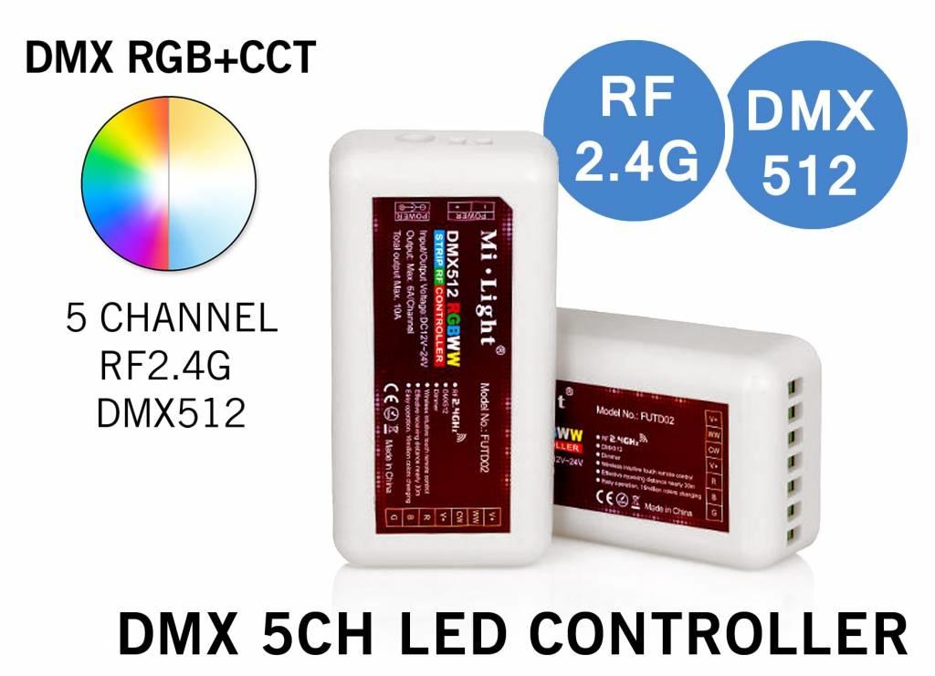 MiLight DMX 512 5-Kanaals DMX LED Strip  Controller RF 2.4G RGBWW RGB+CT