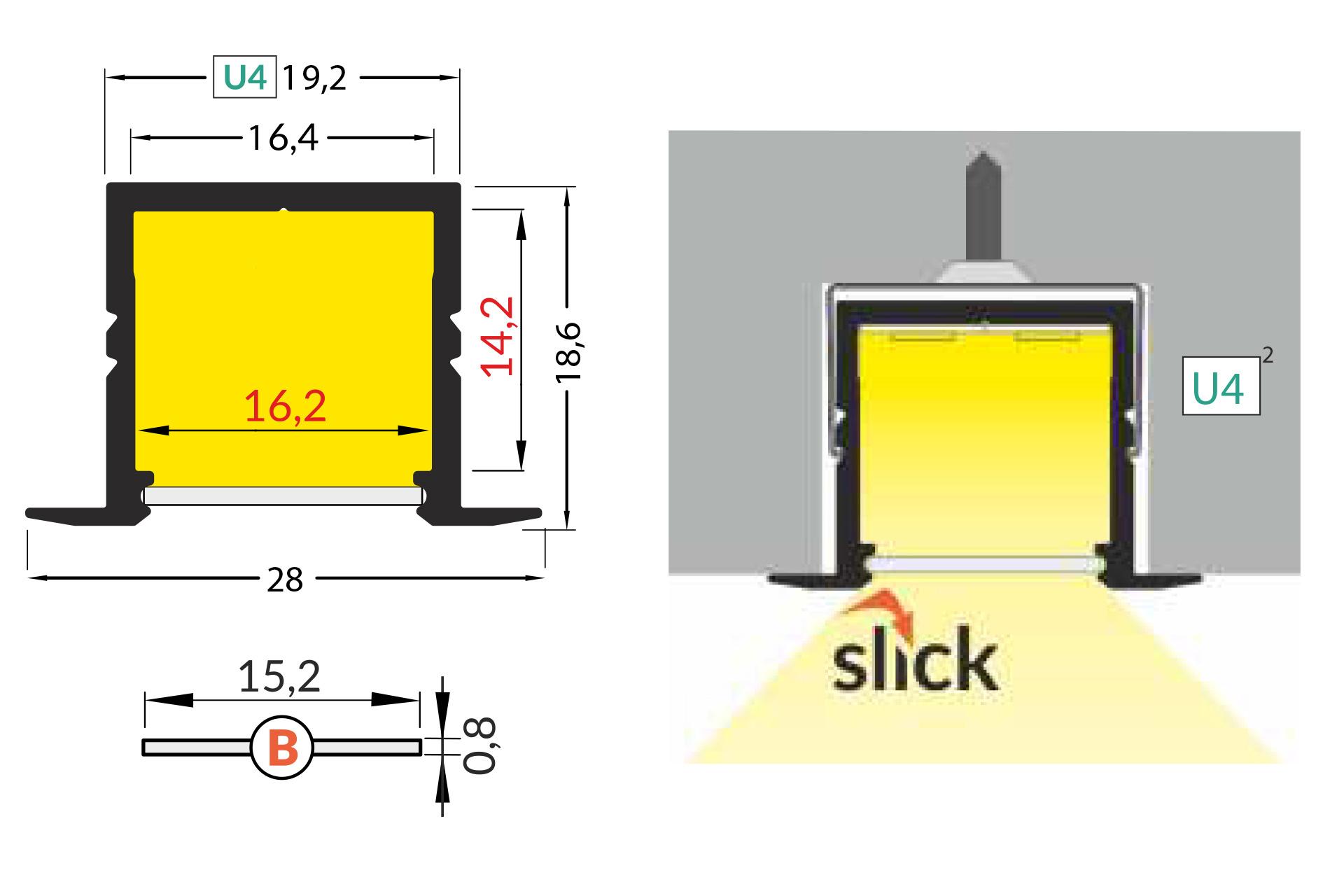 NOVA RS 16mm Led Profiel Inbouw 1m-2m