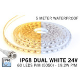 AppLamp Waterdichte Dual White CCT LED strip (IP68) met 60 LED's/pm 24V,  5 meter