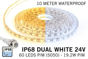 AppLamp Waterdichte Dual White CCT LED strip (IP68) met 60 LED's/pm 24V,  10 meter