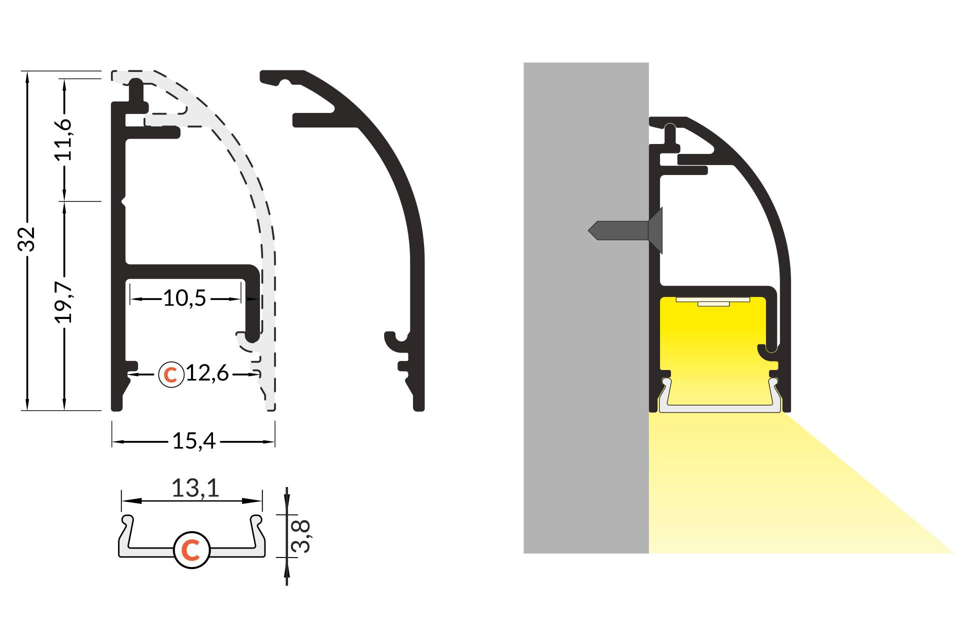 STRADA 10mm Opbouw LedProfiel 2m