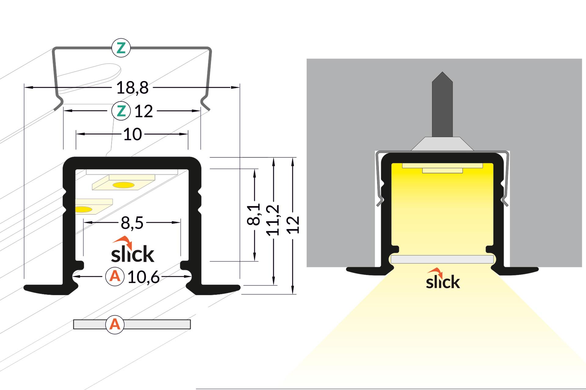 NOVA RS 10mm Verzonken Led Profiel 1m-2m