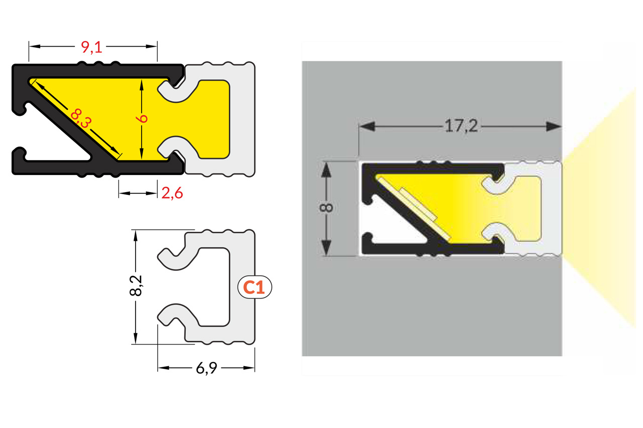 Cover C1 melkwitte kap in 1m of 2m lengte voor PICO ledprofiel