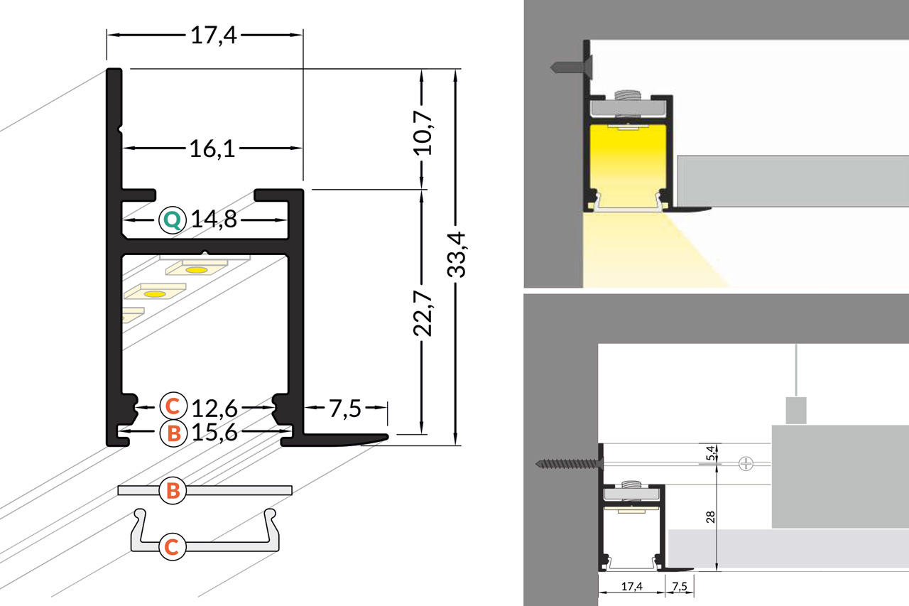 EDGE 14mm Led Profiel Opbouw 1m-2m