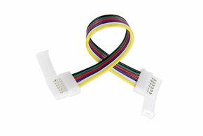 RGB+Dual White LED strip flexibel koppelstuk voor 12mm strips, soldeervrij, 15cm - 6 contacten