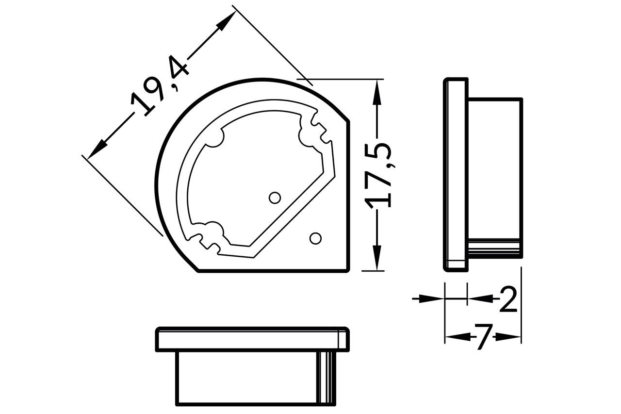 Eindkapjes TRIAD TS, Set van twee voor ronde Cover D