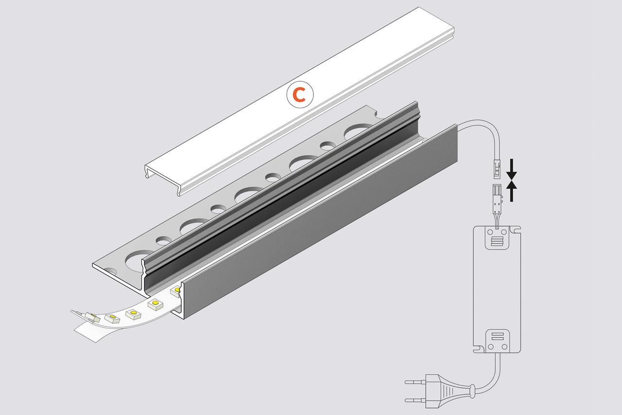 EDGE TS180 12mm verzonken Led Profiel voor tegels en stucwerk