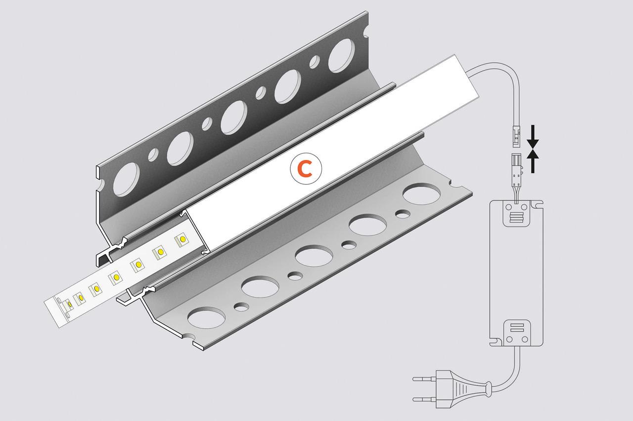 EDGE TS90 12mm verzonken Led Profiel voor tegels en stucwerk