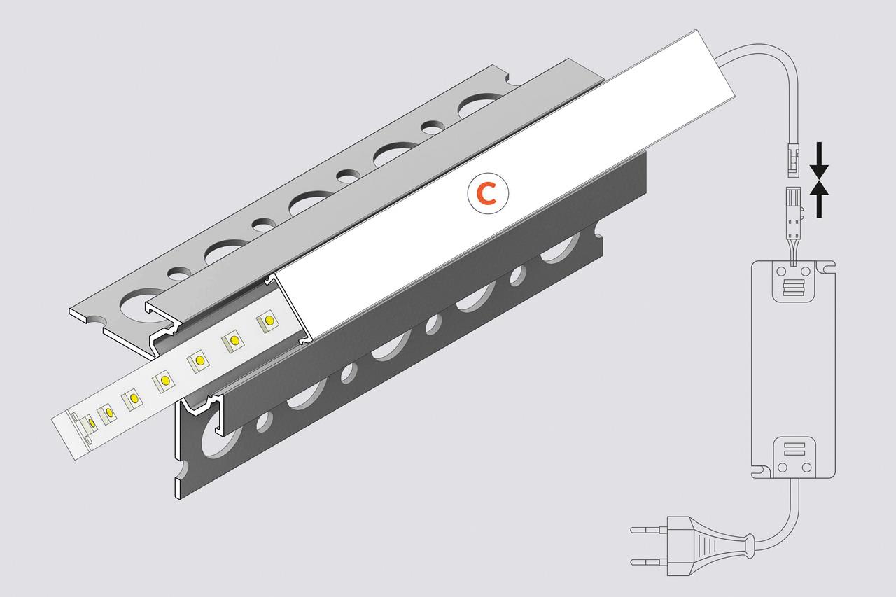 EDGE TS270 12mm verzonken Led Profiel voor tegels en stucwerk
