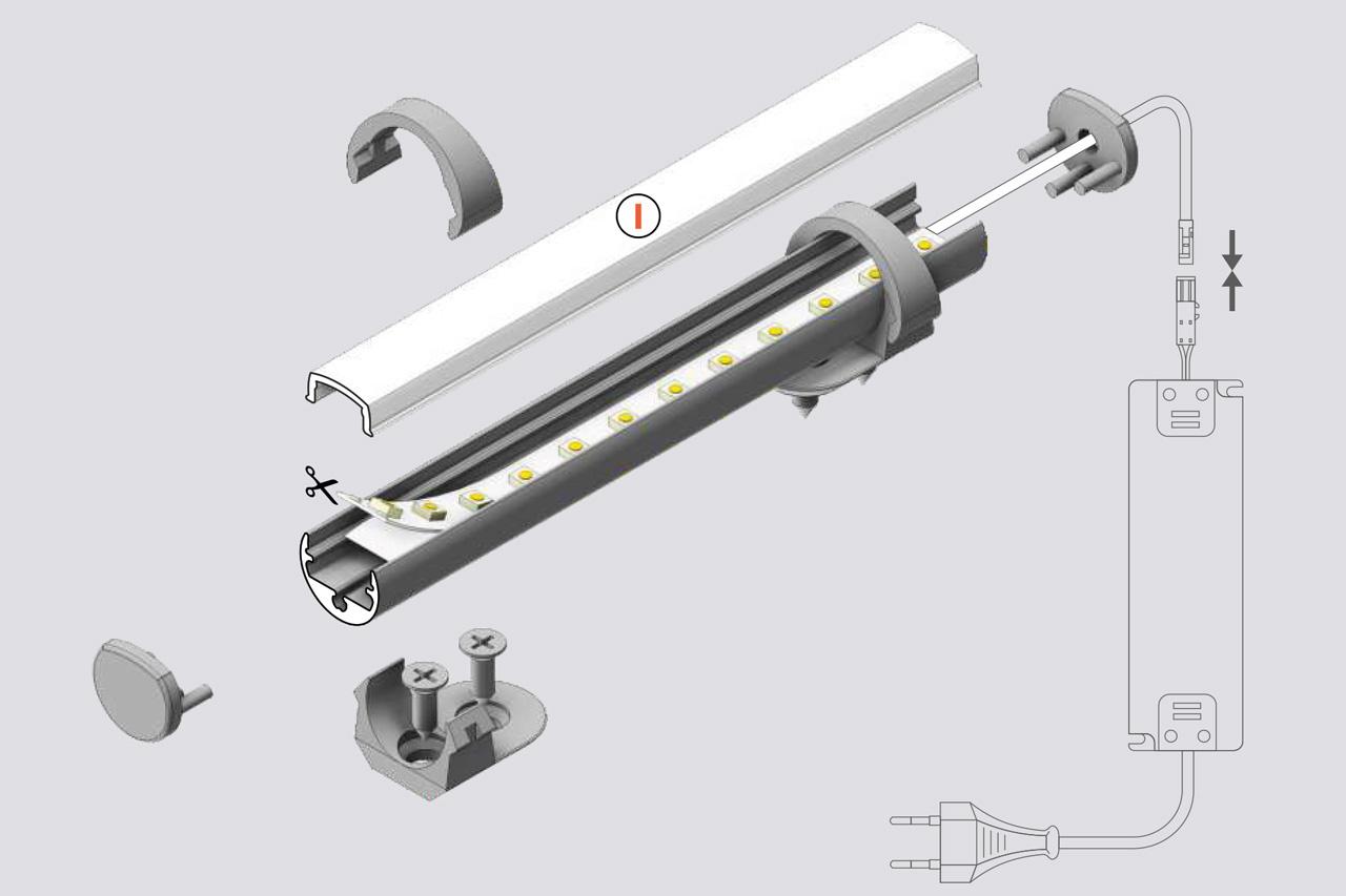 ROTO 8mm rond opbouw Led Profiel 1m-2m