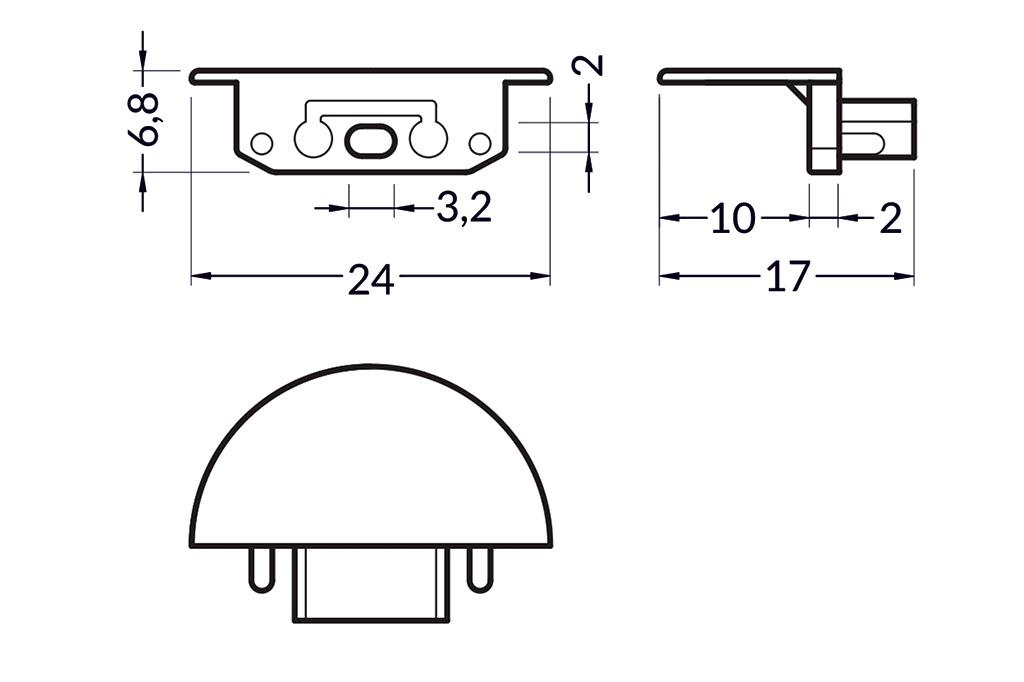 Eindkapjes voor LED profiel LINEA Set van twee stuks