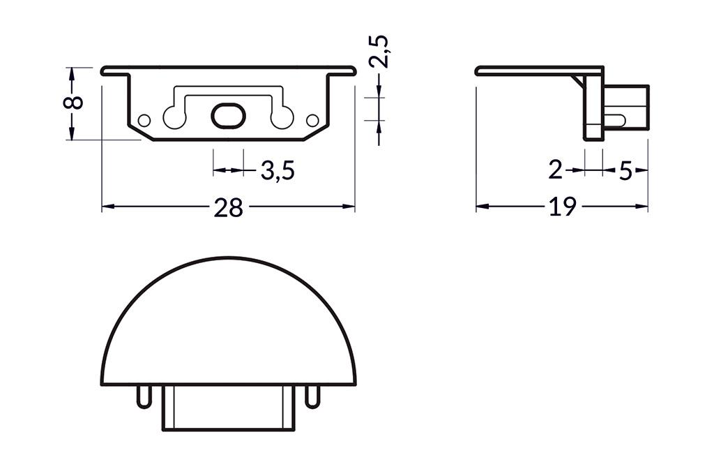 Eindkapjes voor LED profiel LINEA14 Set van twee