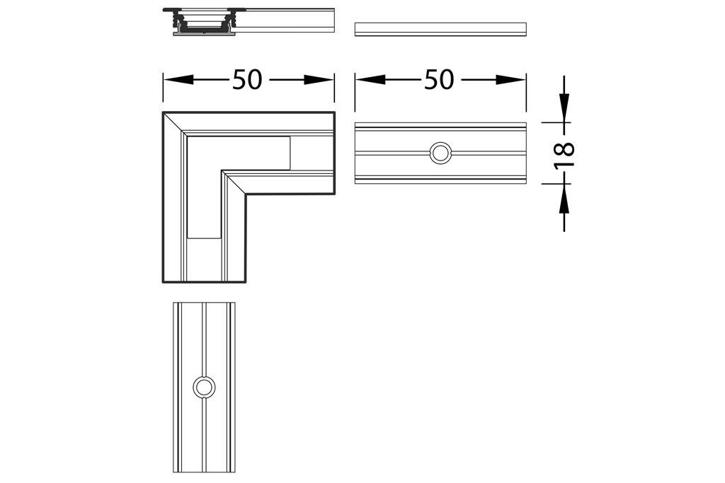 Hoek koppelstuk 90° voor Linea10 LED profiel