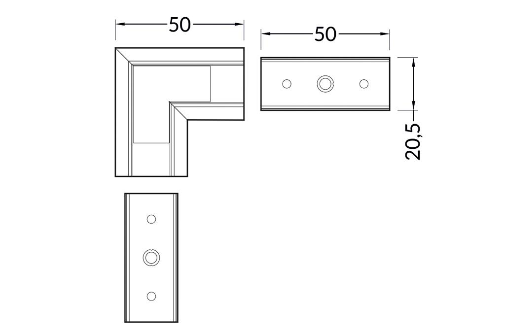 Hoek koppelstuk 90° voor Linea14 LED profiel