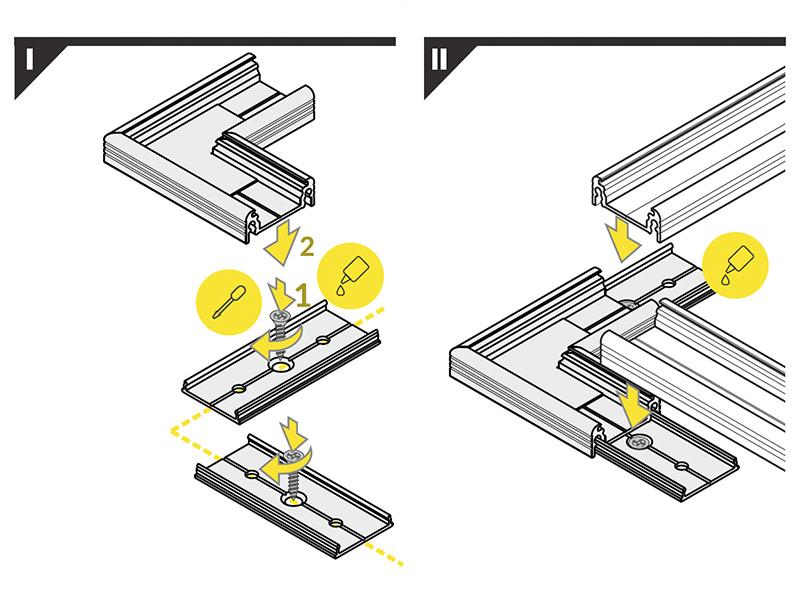 Hoek koppelstuk 90° voor Fluid14 LED profiel