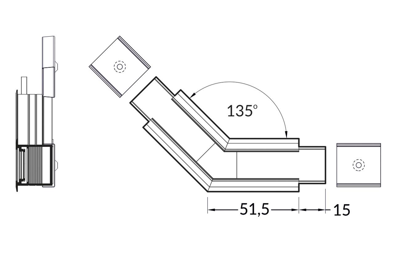 Hoek koppelstuk 135° voor NOVA20 RS LED profiel