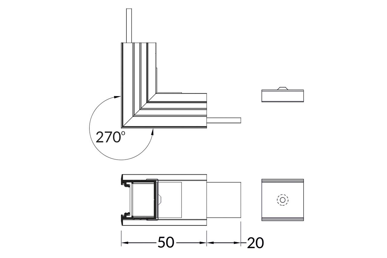 Hoek koppelstuk 90° buitenhoek voor NOVA20 RS LED profiel