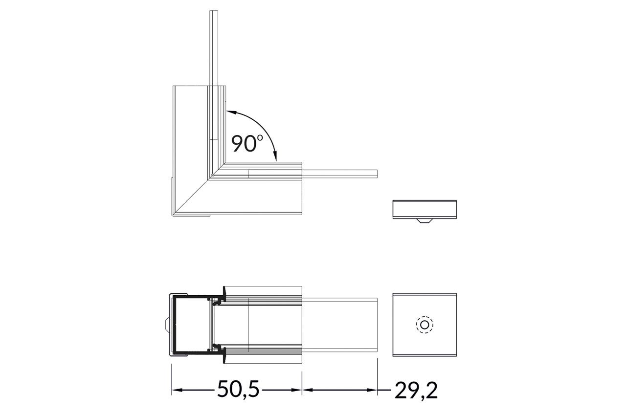 Hoek koppelstuk 90° binnenhoek voor NOVA20 RS LED profiel