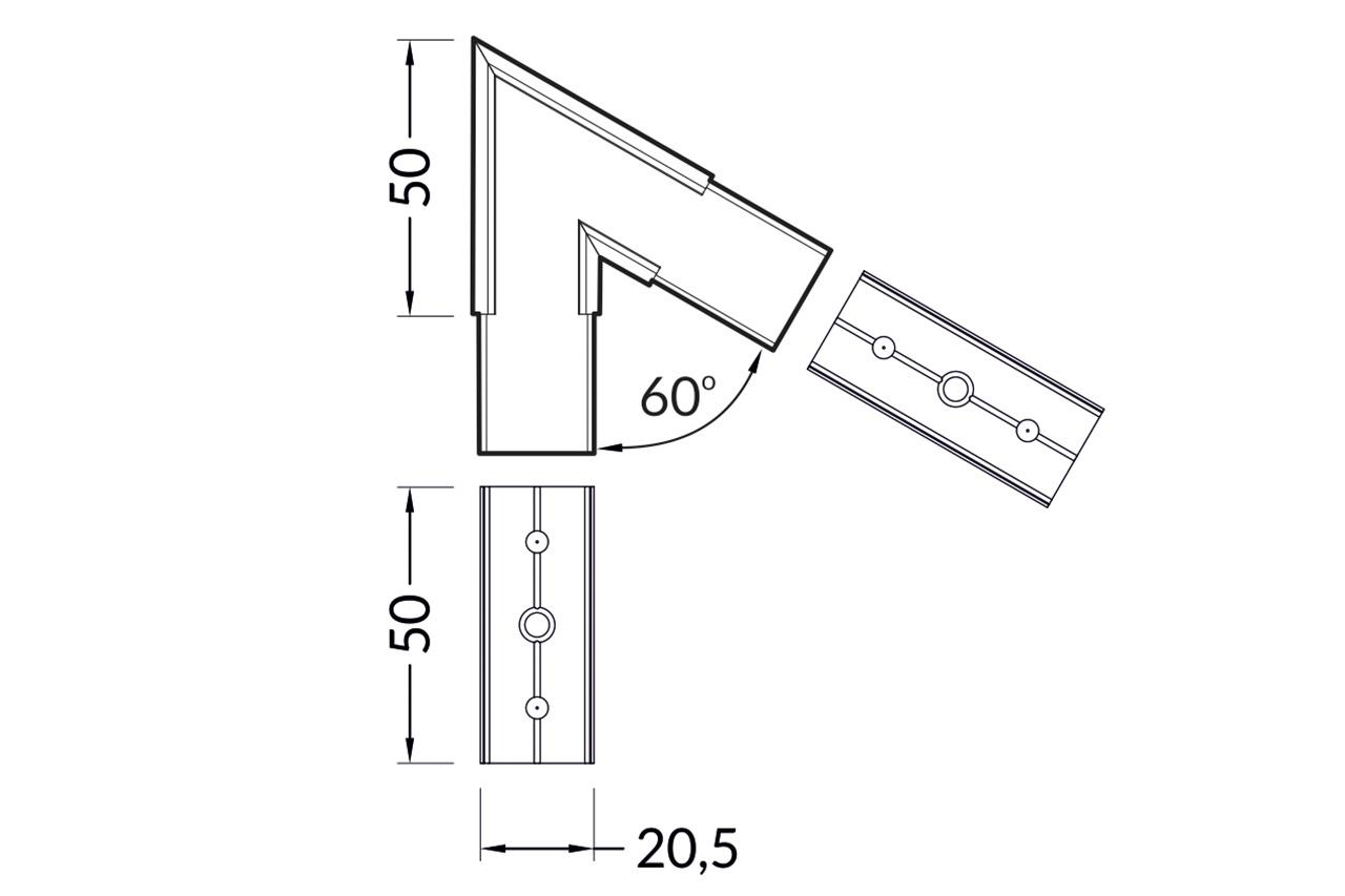 Hoek koppelstuk 60° voor NOVA20 LED profiel