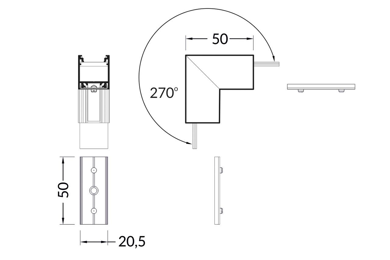 Hoek koppelstuk 90° buitenhoek voor NOVA20 LED profiel