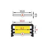 Cover A Slide in 1m of 2m lengte voor profiel CONTOUR