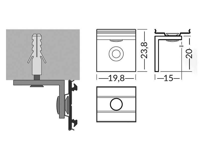 Zijwaartse Houder Type `U5` (90 graden montage BEND profiel) SIDE