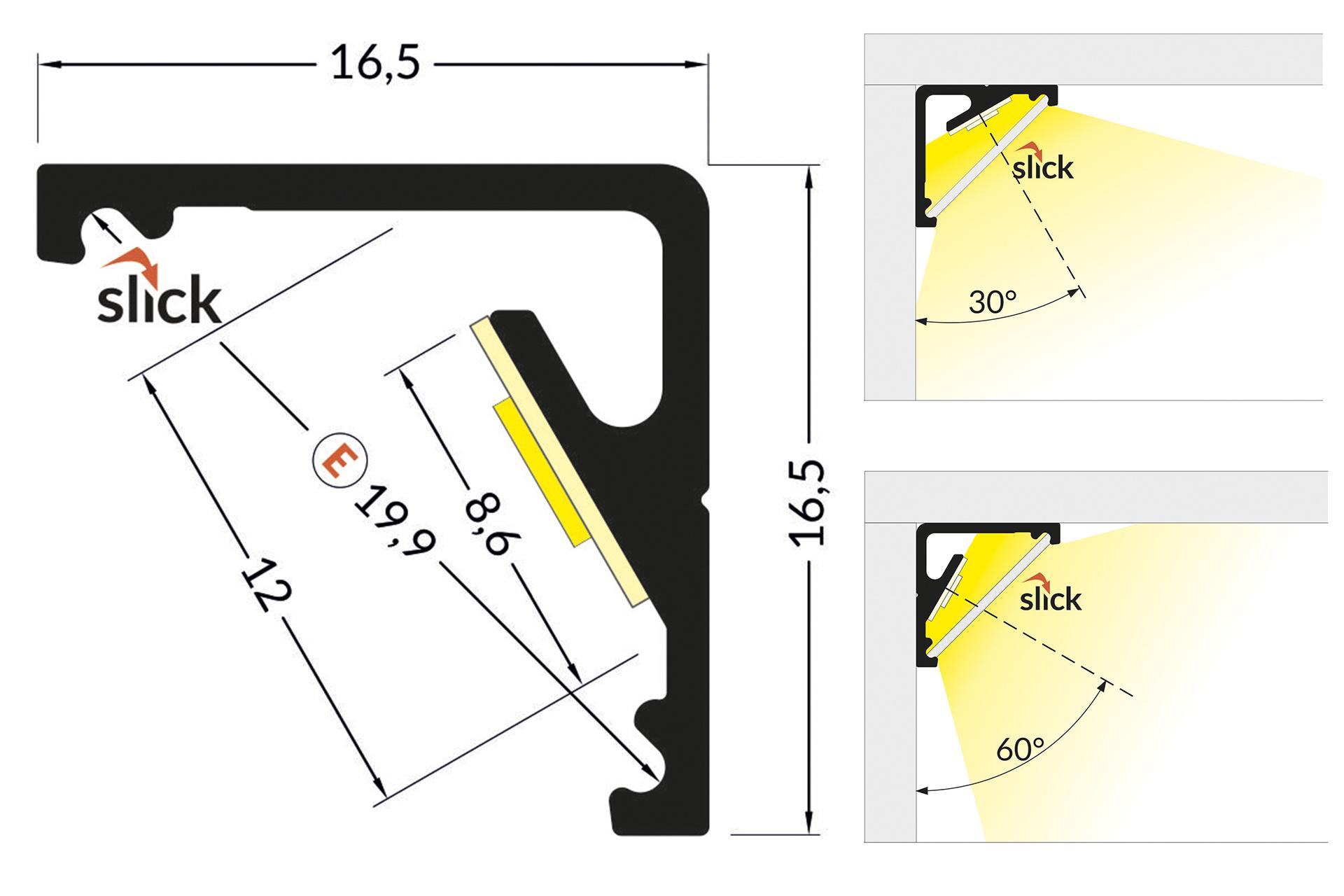 ANGLE12 12mm Opbouw Led Profiel 1m-2m