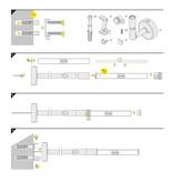 Knikarm Houder ROTO8  Chrome  1, 10, 20 of 30cm lengte