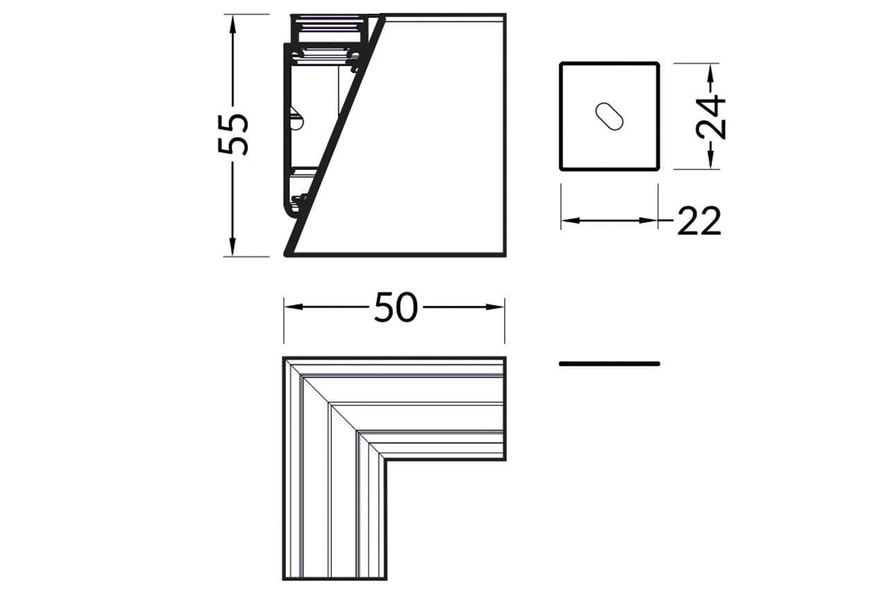 Hoek koppelstuk 90° voor WALL12 LED profiel