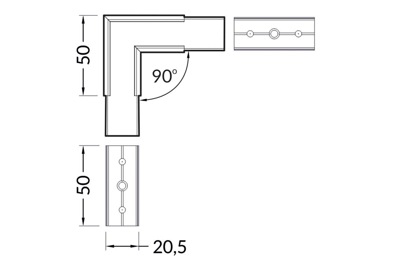 Hoek koppelstuk 90° voor NOVA20 LED profiel