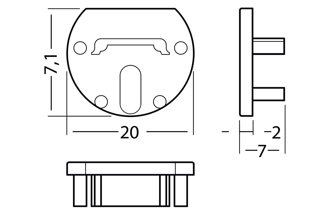 Eindkapjes ROTO12, Set van twee stuks
