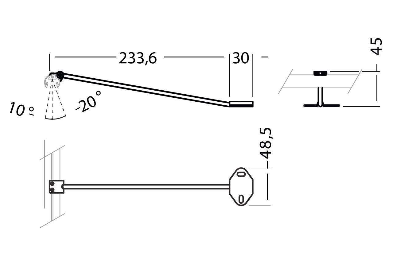ROTO12 kast extentie arm houders 23cm