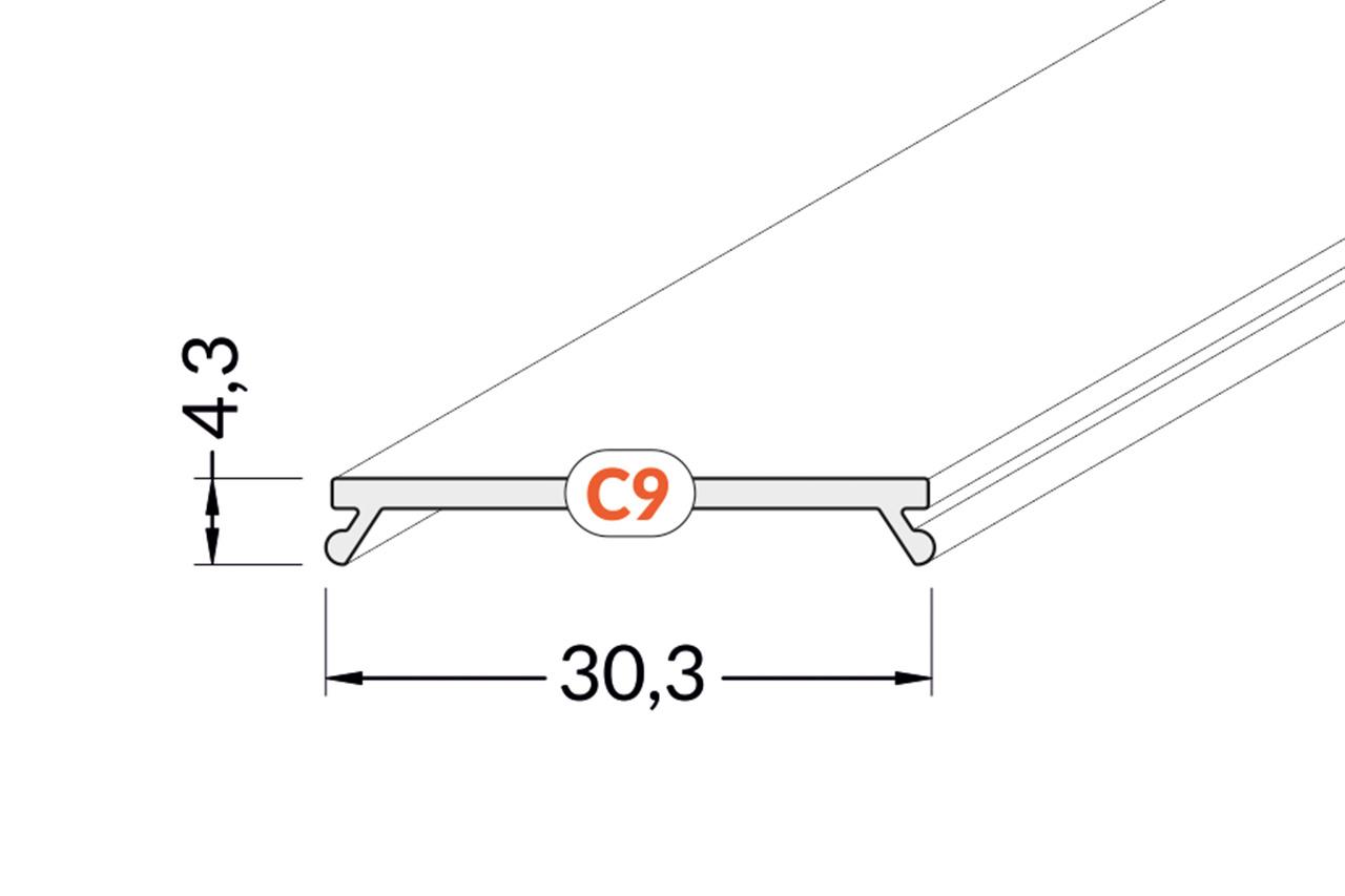 Cover C9 Clickon 1m of 2m lengte