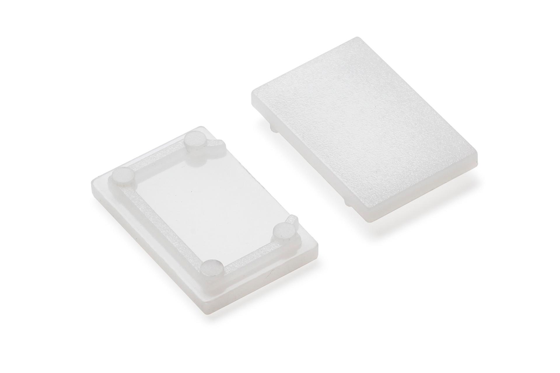 Cover E9 eindkapjes, lichtdoorlatend melkwit, Set van twee
