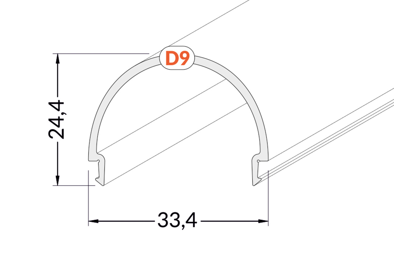 Cover D9 ClickOver halfronde melkwitte kap in 1m of 2m lengte