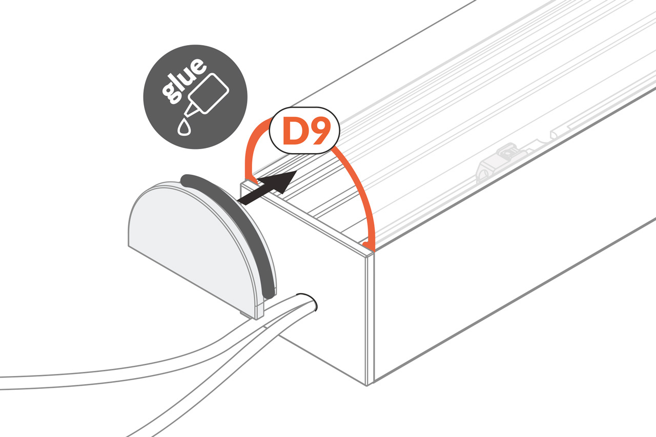 Cover D9 boogkap eindkapjes, lichtdoorlatend melkwit, Set van twee