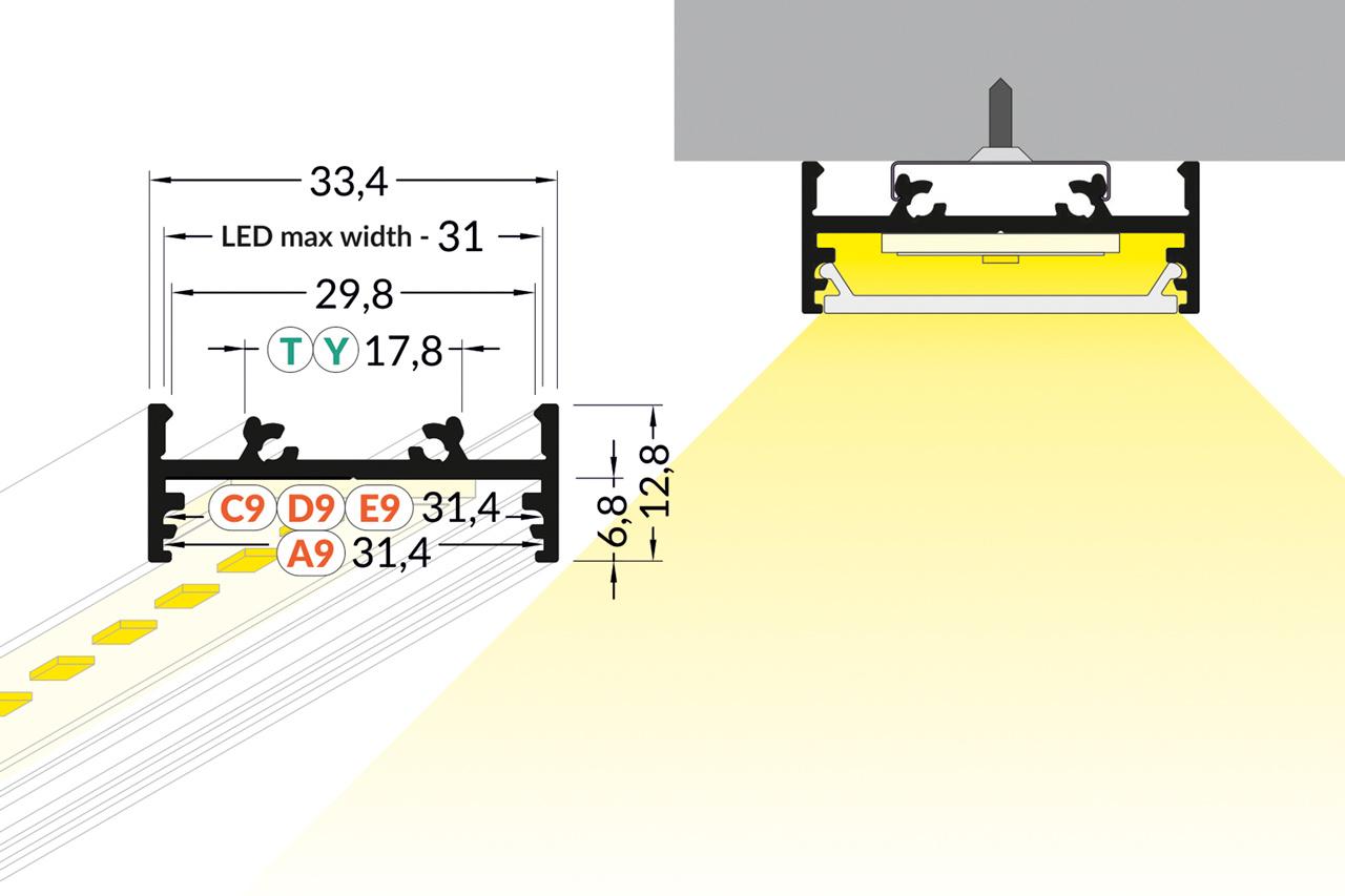 EVO301 31mm opbouw Led Profiel 1m-2m