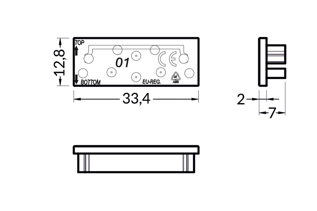 Eindkapjes voor LED profiel EVO301. Set van twee