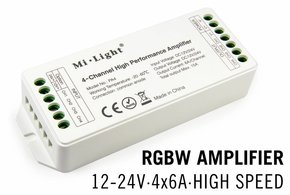 MiLight RGBW MiLight LED strip versterker 4 x 6Amp High Speed