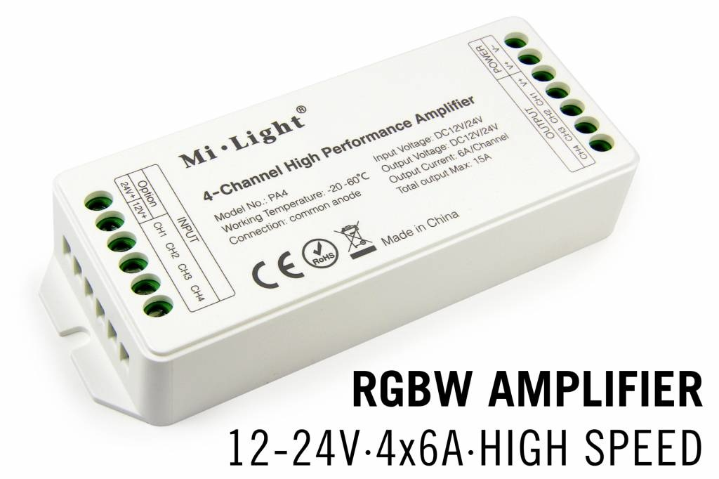 MiLight RGBW MiLight LED strip versterker 4 x 6Amp High Speed