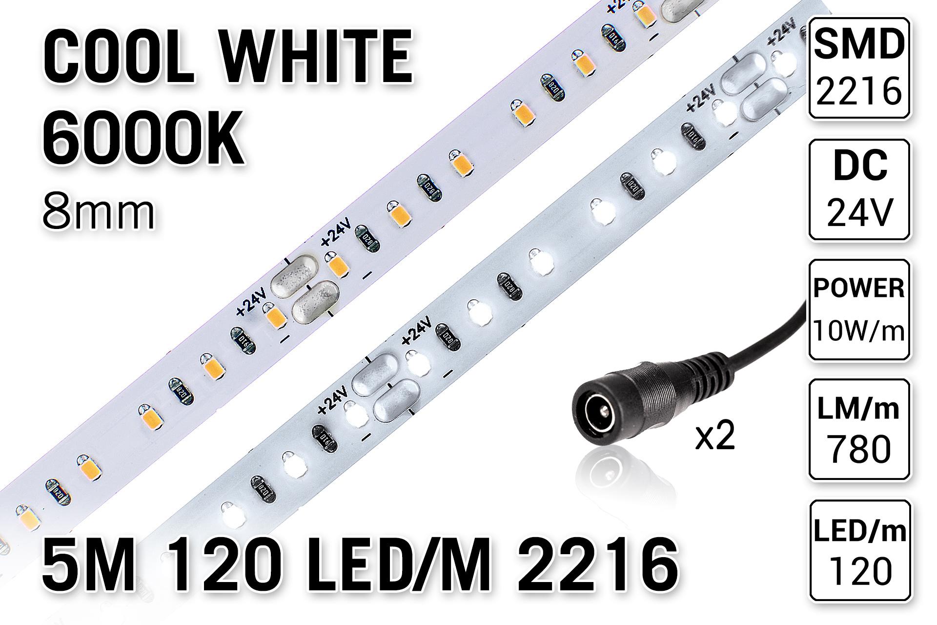 AppLamp ProLine PRO LINE Koel Wit Led Strip | 5m 120 Leds pm Type 2216 24V Losse Strip