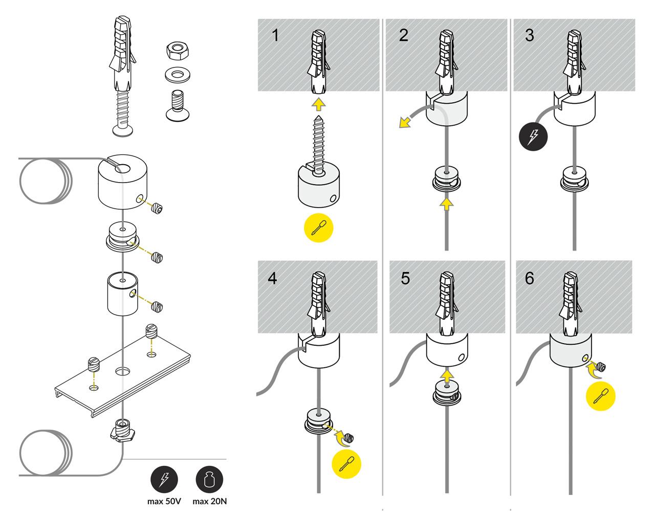 Staalkabel ophangsysteem met stroomdoorvoer