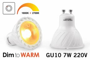 Dim2Warm 7 Watt GU10 LED spotje Dim to Warm
